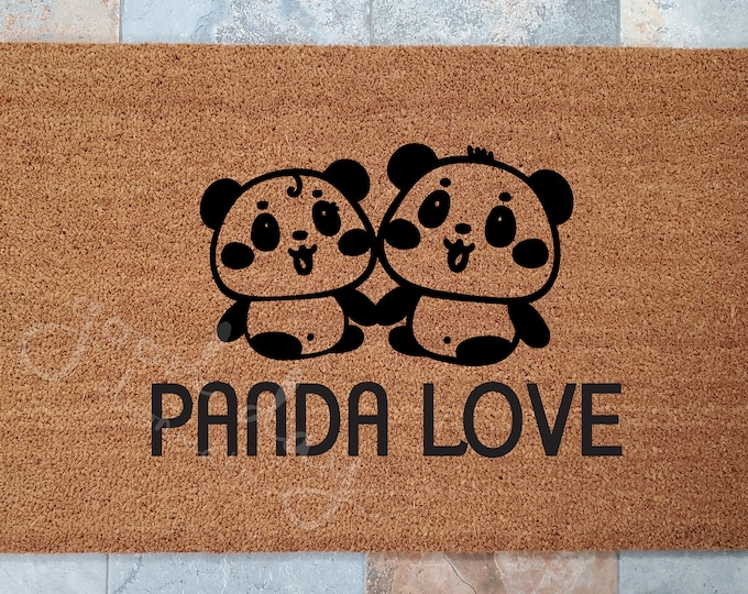 Panda Love Doormat - Personalized with Family Name