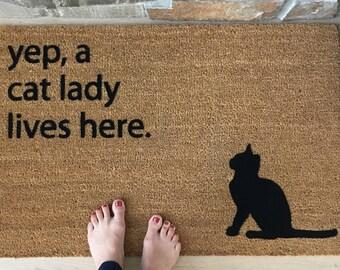 Funny Doormat / Door Mats / Custom Doormat / Gifts for Her / Gifts for Mom / Personalized Doormat / Gifts for Wife / Cat Lover Gifts / Fun