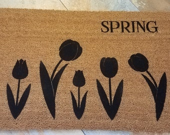SUPER SALE - One Only / Spring Doormat / Welcome Mat / Tulip Doormat / Door Mat / Welcome Mat / Gifts for Her / Gifts for Him/ Flower Gift