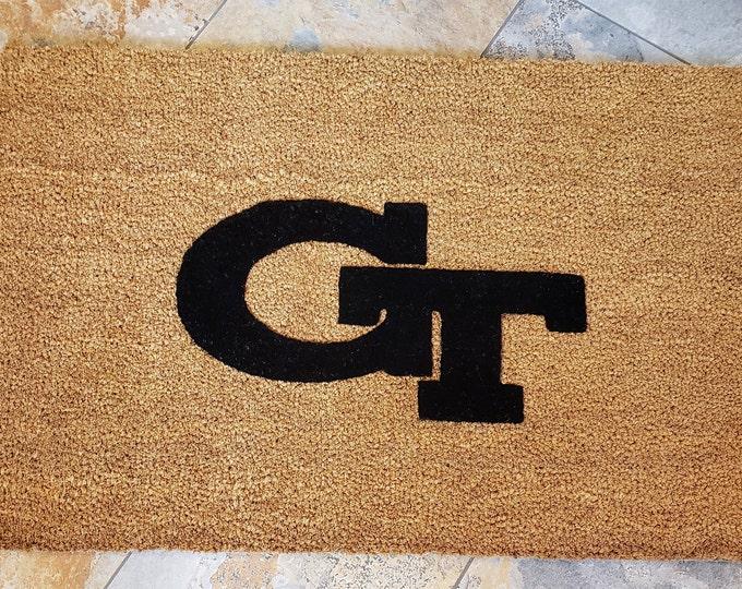 Georgia Tech Door mat, School Spirit Home Decor, Unique Door Mats, Cute Home Decor, Gifts for Him, Gifts for Brother, College Doormat