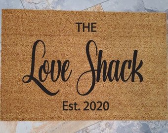 The LOVE SHACK Mat / Custom Doormat / B-52s Mat / Welcome Mat / Cute Door Mat / Fun Doormat / Gifts for Her / Housewarming / Gift for Him