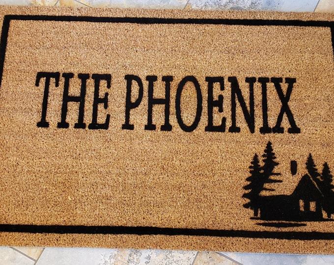 Cabin Door Mat, Outdoors Home Decor, Custom Doormat,  Custom Welcome Mat, Personalized Doormat, Gifts for Him, Family Gift Doormat, Cabins