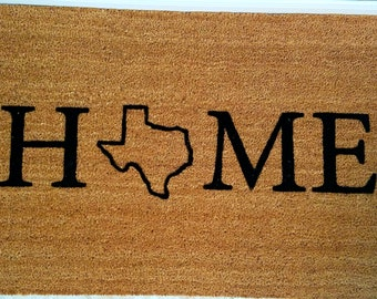 Home Welcome Mat with your State of choice / My State Doormat / Personalized Doormat / Custom Doormat / Gift Ideas / Family Gifts / Door Mat