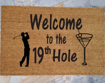 The 19th Hole Door Mat / Golf Doormat / Welcome Mat / Custom Door Mat / Gift for Golfers / Unique Gift Ideas / Gifts for Him / Gifts for Her