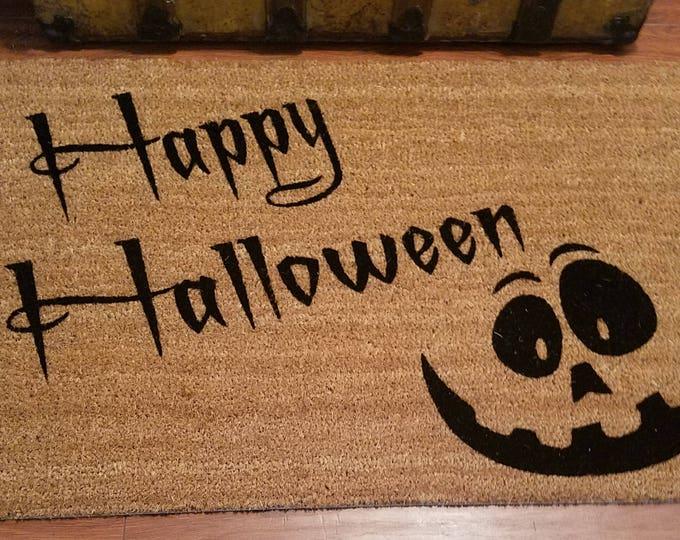 Door Mats / Custom Doormat / Welcome Mat / Personalized Doormat /  Holiday Gift Ideas / Halloween Doormat / Pumpkin Face / Jack O Lantern