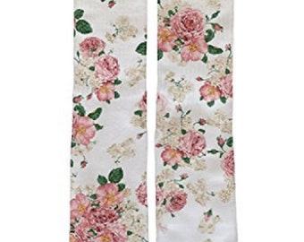 Beige Flower Socks / Custom Designs / Athletic Fit /  Dye Sublimated Images / Polyester Socks for Vibrant Image Clarity / Flower Socks