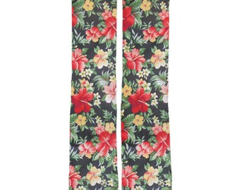 Hawaiian Tropical Flower Socks, Cool athletic fit, polyester blend socks, image transfer quality, fun footwear, comfortable low cost socks