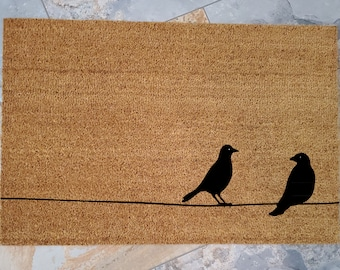 Birds on a Wire Doormat / Custom Doormat / Handmade / Gifts for Her / Gifts for Mom / Personalized Doormat / Unique Gifts / Welcome Mat