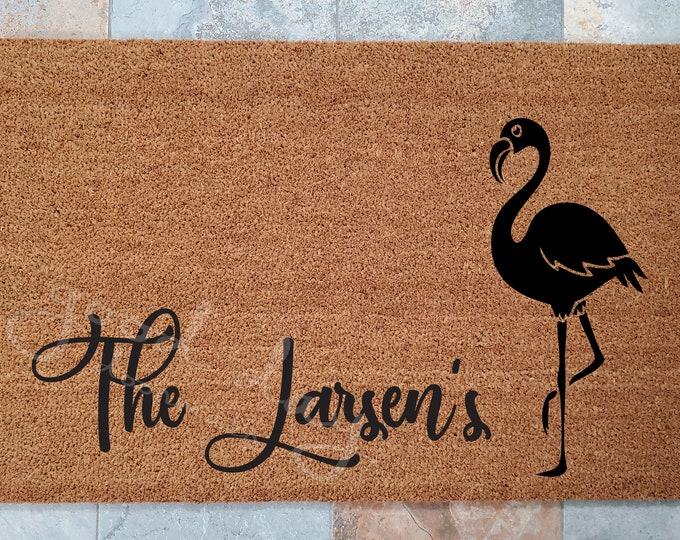 Flamingo Doormat or Customize with Your Name / Welcome Mat / Bird Doormat /Custom Doormat / Personalized Doormat / Funny Doormat / Tropical