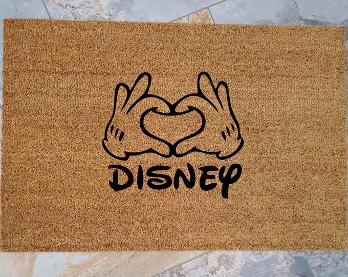 Heart Disney Doormat, Custom Welcome Mat, Personalized Doormat, Disney Home Decor, Unique Door Mats, Mickey Mouse, Disney Lover