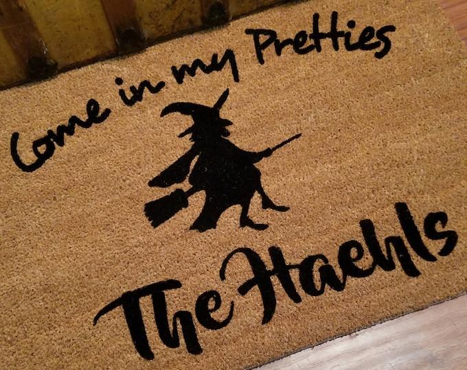 Welcome Mat / Door Mats / Personalized Doormat / Custom Doormat / Halloween Doormat / Unique Gift Ideas / Witch Doormat / Witches on Brooms
