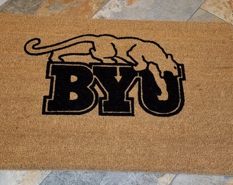BYU Doormat / Welcome Mat / Custom Doormat / Sports Fan / College Football / Gifts for Him / Gifts for Boyfriend / BYU Gifts / Allumni Gifts