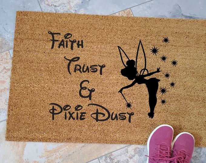 Pixie Dust Doormat / Custom Welcome Mat / Personalized Doormat / Disney Home Decorations / Unique Door Mats / Tinker Bell / Disney Lover