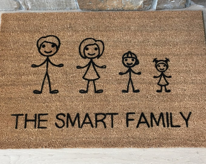 Stick Figure Family, Family Gift Personalized Doormat, Family Gift Ideas, Stick Family Picture, Entry Mat, Home Decor