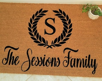 Custom Doormat, Custom Welcome Mat, Personalized Doormat, Monogrammed Doormat, Elegant Doormat, Door Mats, Wedding Gift Ideas, Family Gift