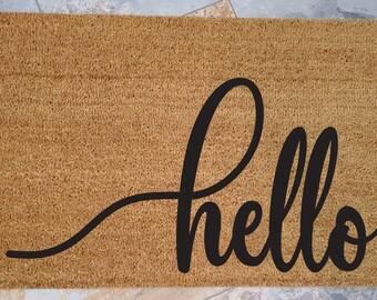 Hello Doormat, Custom Doormat, Welcome Mat, Personalized Doormat, Home Decor, Unique Door Mats, Large or Small Hello, Stylish Doormat