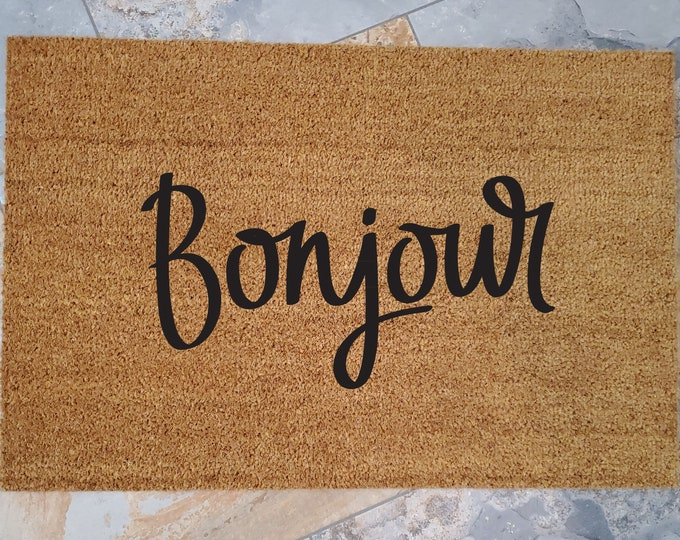 Bonjour Welcome Mat / Custom Doormats / Welcome Mat / Home Decor / Unique Gift / Gifts for Mom / French Decor / Gifts for Girlfriend