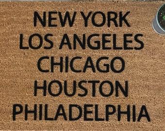 SUPER SALE - One Only / New York City Decor, Los Angeles Decor, Chicago Decor, Houston Decor, Philadelphia Decor, Cool Door Mats