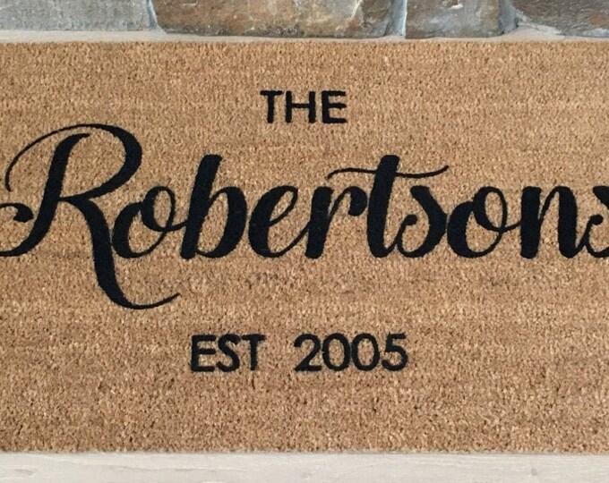 Custom Doormat, Custom Welcome Mat, Personalized Doormat, Family Name Gift,  Wedding Gift,  Realtor Gift,  Housewarming Gift,  Door Mat