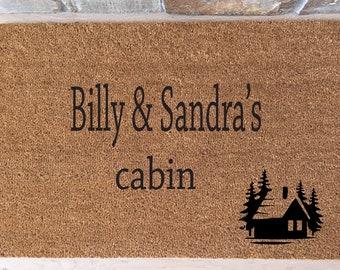 Cabin Doormat / Welcome Mat / Outdoors Doormat /Custom Doormat / Personalized Doormat / Unique Doormat / Housewarming Gifts / Rustic Cabin