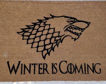 """Game of Thrones Doormat / Welcome Mat / Large 24"""" x 36"""" Coir Door Mat / Custom Doormat / Gifts for Mom / Family Gifts / Medieval Door Mat"""