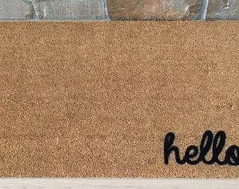 Hello Doormat, Front Door Decor, Custom Doormat, Hello Mat, Welcome Mat, Cute Door Mat, Greetings Doormat, Gifts for Her, Housewarming Gift