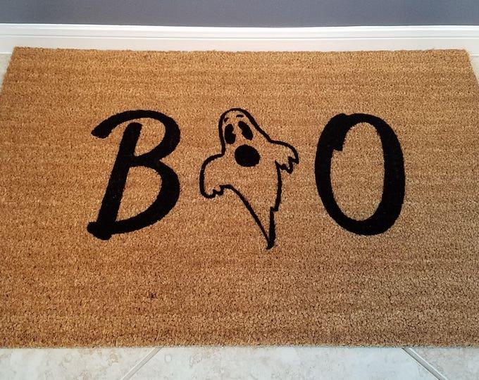 Welcome Mat / Door Mats / Personalized Doormat / Custom Doormat / Halloween Door Mats / Unique Gift Ideas / Seasonal Mat / Ghost Decorations