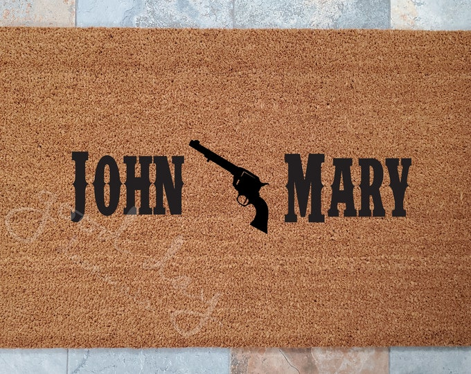 Pistol Wedding Welcome Mat - Wedding Gifts - Gifts for Couples - Personalized Doormat - Redneck Wedding - Personalized Wedding Gift