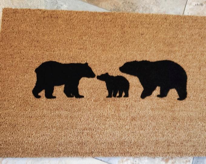 Bear Family Door Mat / Door Mats / Welcome Mat / Custom Doormat / Bears Doormat / Outdoors / Gift Ideas / Housewarming Gifts / Hostess Gifts