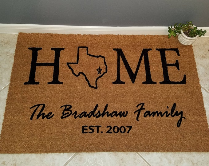 Home State Doormat / Custom Doormat / Welcome Mat / Personalized Doormat / Family Gift / Christmas Gifts / Gift Ideas / Housewarming Gifts