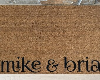 Couples Names Door Mat / Custom Doormat / Personalized Doormat / Welcome Mat / Unique Wedding gifts / Couple Gifts / Bridal Shower Gifts