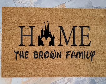 Disney Home Doormat. Are you a Disney Family like we are? Do you feel like Disneyland is your Home? Great Gift Idea! Disney is Like!
