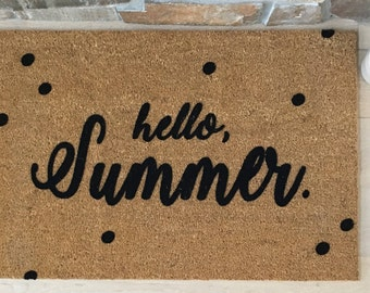 Custom Doormat, Custom Welcome Mat, Personalized Doormat, Hello Summer Doormat, Summer Door Mats, Summer Decor, Housewarming Gift Ideas