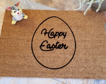 Easter Egg Doormat to have a Happy Easter on your front porch.  Unique Holiday Gift Idea. Peter Cottontail hoping down the bunny trail!