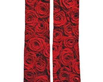 Red Rose Socks / Flower Socks / Custom Socks / Fun to Wear / Dye Sublimated Images / Polyester Socks for Image Clarity on Heat Transfer