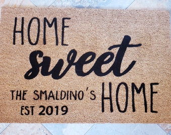 Home Sweet Home / Personalized Door Mat / Custom Door Mat / Welcome Mat / Custom Doormat / Family Name Gift / Wedding Gift / Unique Gifts