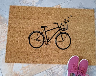 Bicycle Hearts Doormat / Custom Doormats / Welcome Mat / Personalized Doormat / Gifts for Him / Gifts for Her / Love Bicycles / Unique Gifts