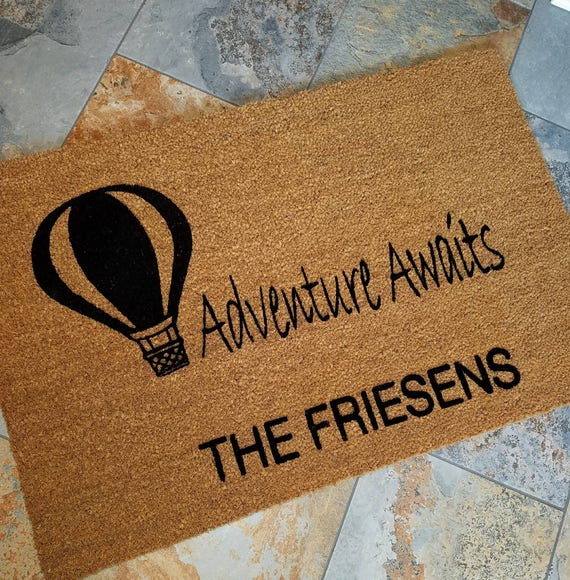 Hot Air Balloon Doormat / Personalized Doormat / Outdoors Doormat / Custom Doormat / Housewarming Gifts / Family Gift / Welcome Mat