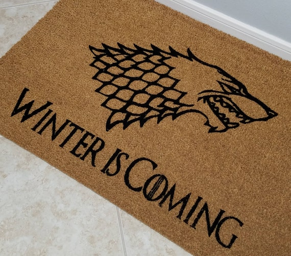 "Game of Thrones Doormat / Welcome Mat / Large 24"" x 36"" Coir Door Mat / Custom Doormat / Gifts for Mom / Family Gifts / Medieval Door Mat"