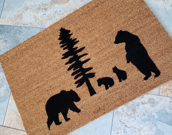 Bears Doormat / The Great Outdoors / Outdoors Doormat / Custom Doormat / Handmade Doormat / Housewarming Gifts / Family Gift / Welcome Mat