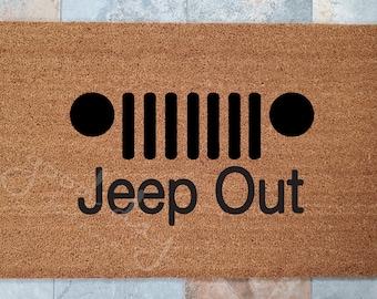 Jeep Out Door Mat / 4WD Door Mat / Outdoors Door Mat / Welcome Mat / Custom Door Mat / Door Mat / Fun Home Decor / Unique Door Mat