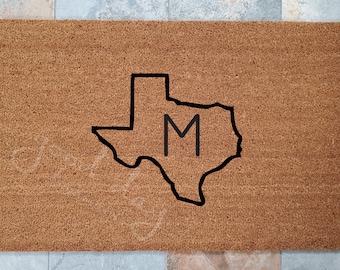 Home State Monogram Doormat / Personalized Doormat / Monogram Doormat / Welcome Mat / Custom Doormat / Gifts for Family / Texas Door Mat