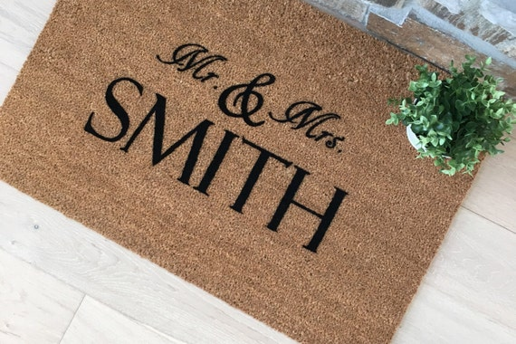 Mr and Mrs Gifts, Mr and Mrs Door Mats, Wedding Gifts, Personalized Couple Gifts, Mr and Mrs Smith, Personalized Wedding Gifts