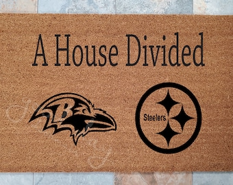 A House Divided Sports Doormat / Support Your Favorite Sports Team / Personalized Doormat / Welcome Mat / Custom Doormat /Gifts for Him