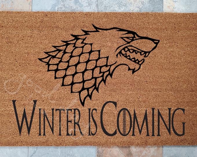 GOT House Stark Doormat / Personalized Door Mat / Custom Doormat / Family Gift / Medieval Door Mat / Unique Gift / Renaissance Door Mat