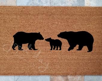 Bear Family Doormat / Doormats / Welcome Mat / Custom Doormat / Bears Doormat / Outdoors / Gift Ideas / Housewarming Gifts / Doormat