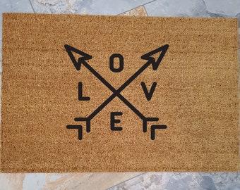 Lovers Doormat / Custom Doormat / Welcome Mat / Romance Welcome / Gifts for Mom / Gifts for Her / Door Mats / Personalized Doormat / Love