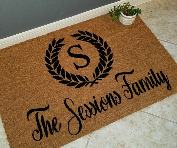 Monogrammed Doormat / Personalized Doormat / Custom Doormat / Door Mats / Wedding Gift Ideas / Gift for Couple's / Family Gift / Unique Gift