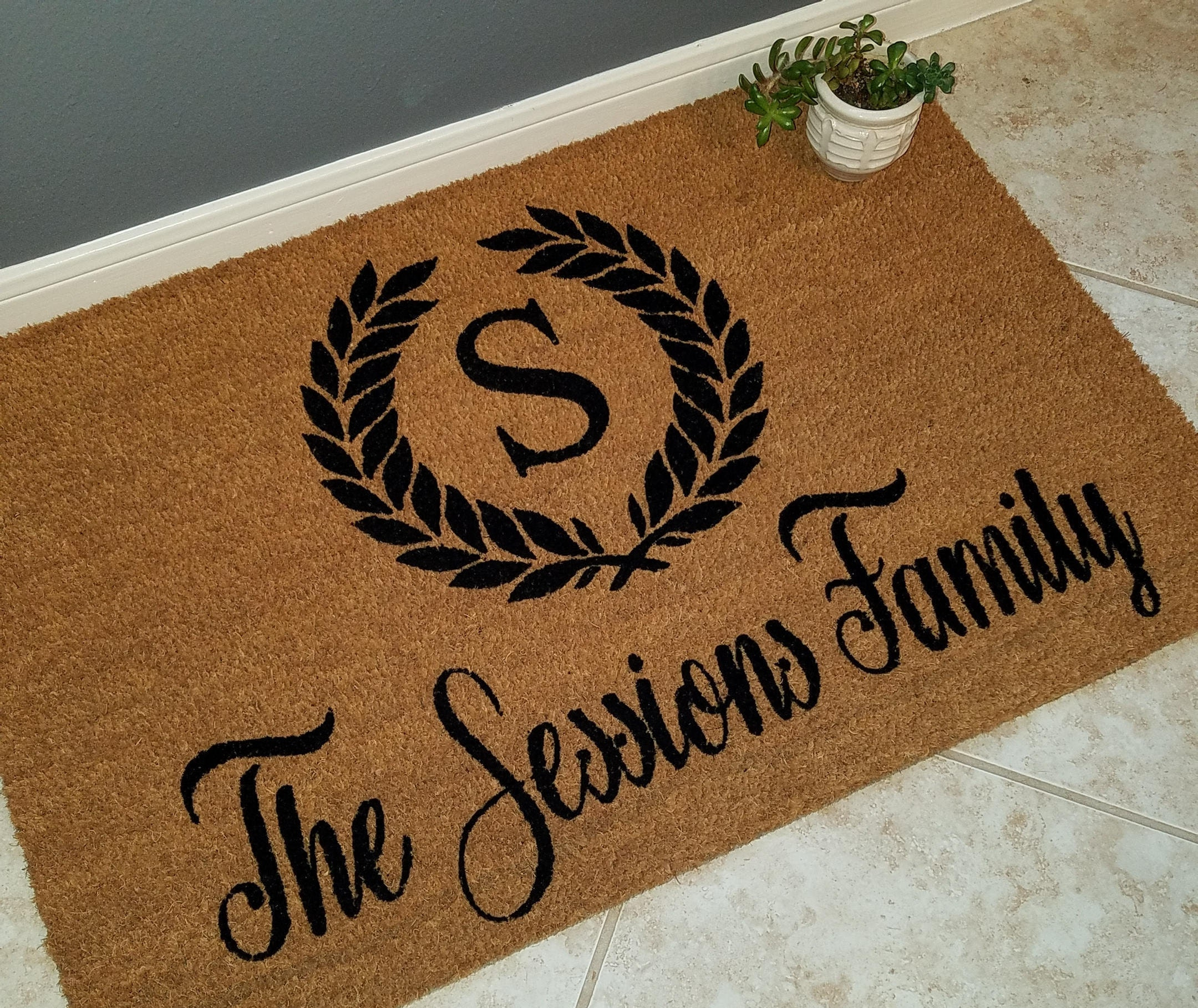Monogrammed doormat personalized doormat custom doormat door mats wedding gift ideas gift for couples family gift unique gift