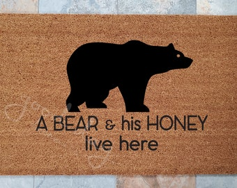 A Bear and his Honey live here.  Custom Doormat, Custom Welcome Mat, Personalized Doormat, The perfect gift for the loving couple.